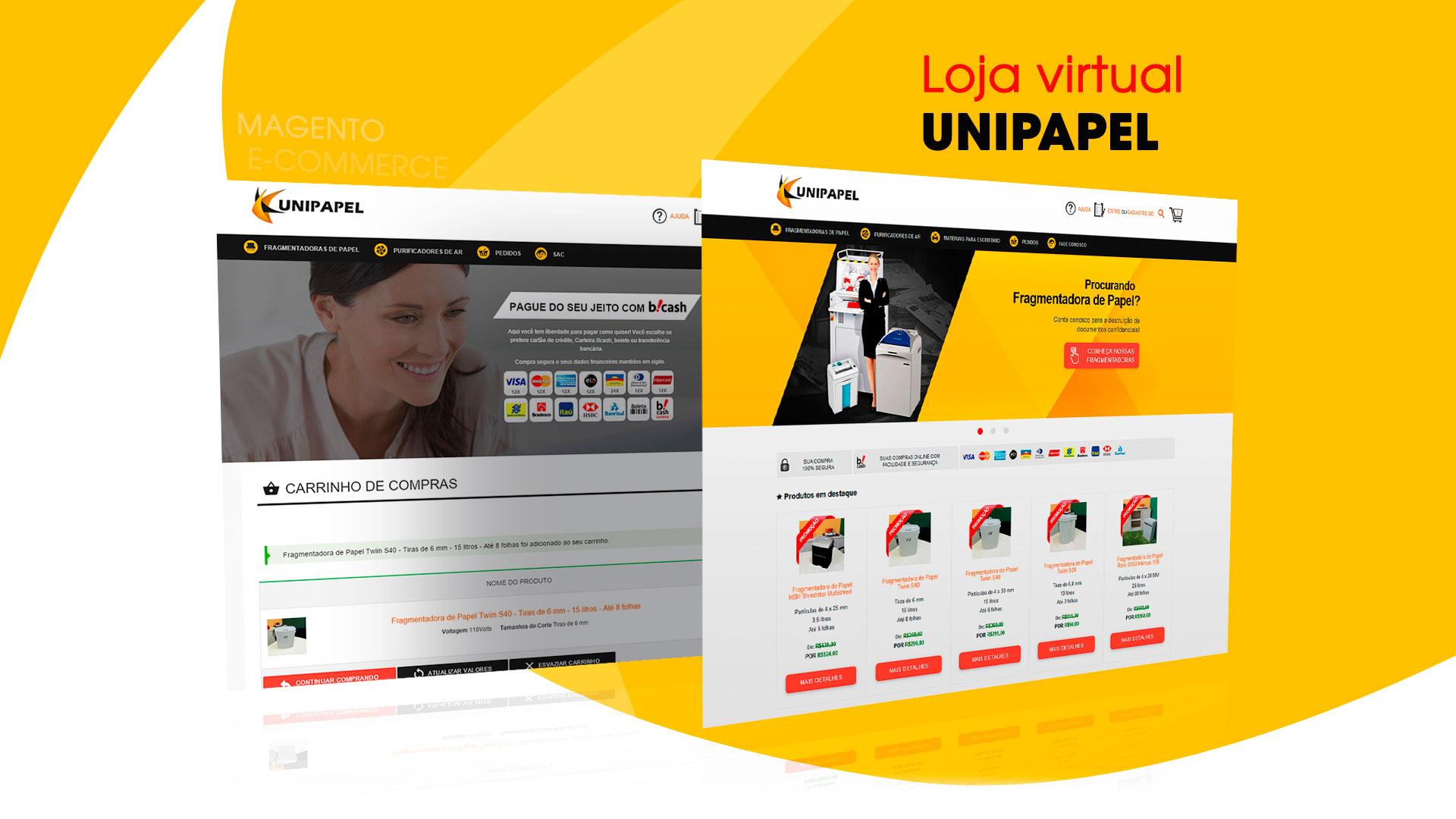 Loja Virtual em Magento Unipapel Fragmentadoras de Papéis